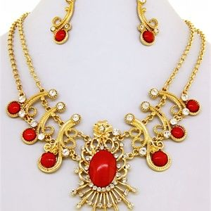 Red & Gold Necklace Set